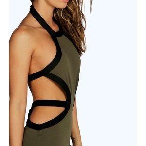 NWT Boohoo Sophie Contrast Midi Bodycon Dress